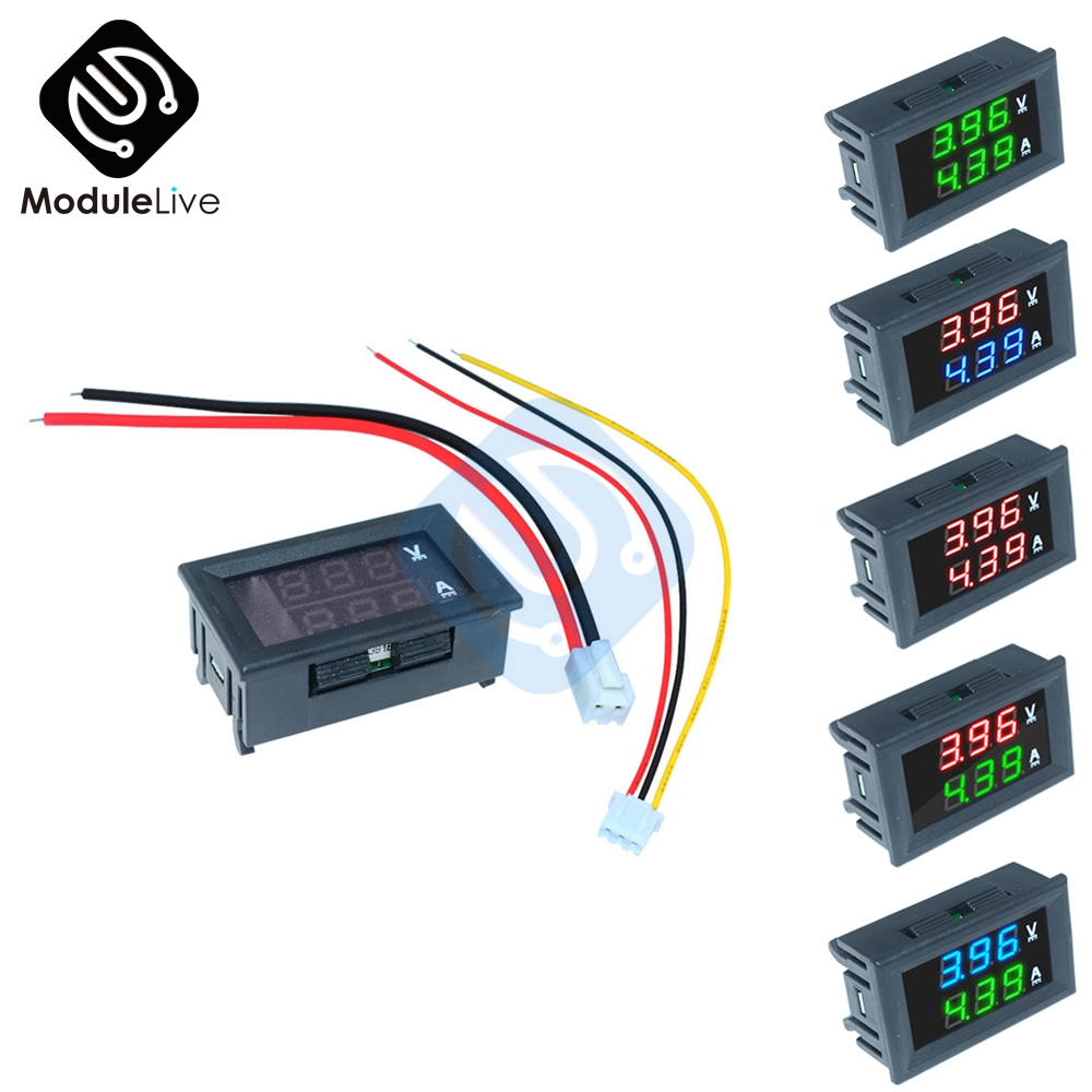 "0,56 Zoll 5 Farben Mini Digital Voltmeter Amperemeter Dc 100 V 10a Panel Amp Volt Spannung Strom Meter Tester 0,56 ""dual Led-anzeige"