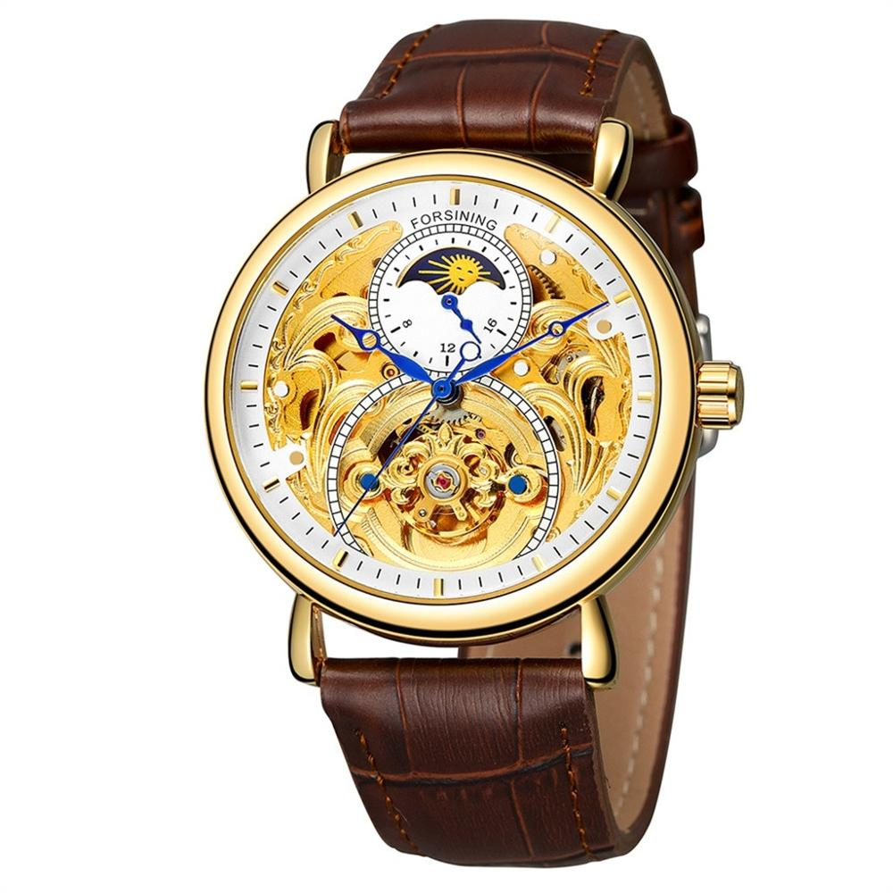 Mens Hollow Moon Phase Carved Hollow Automatic Self-winding Mechanical Watch Fashion luxury vintage round dial montre hommeMens Hollow Moon Phase Carved Hollow Automatic Self-winding Mechanical Watch Fashion luxury vintage round dial montre homme