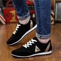 Nueva Llegada De Moda Más El Tamaño Azul Negro Cordón Plana Zapatos de Lona de Los Hombres de Los Hombres Zapatos Casuales Zapatos Transpirables de Viajes Calzado