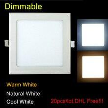 20 יח\חבילה דק במיוחד ניתן לעמעום 3 W/4 W/6 W/9 W/12 W/15 W/25 W LED Downlight רשת שקוע תקרה/Slim פנל מרובע אור