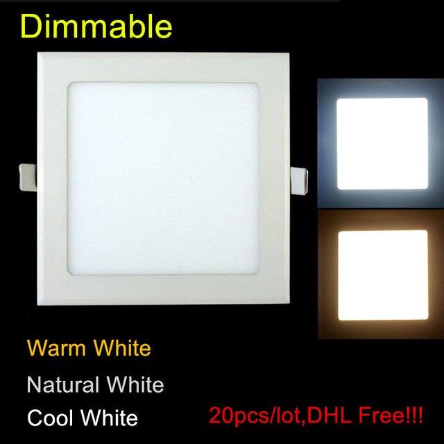 20 pcs/lot Dimmable Ultra mince 3 W/4 W/6 W/9 W/12 W/15 W/25 W LED plafond encastré grille Downlight/mince panneau carré