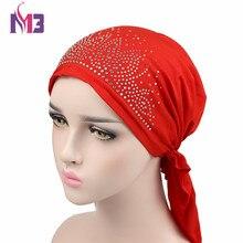 New Fashion Women Turban Bonnet Beanie Hat Chemo Headwear Diamond Bandanas Turban Hat Muslim Hijab Islamic Turbante цена в Москве и Питере