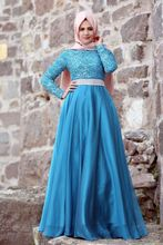 A-line With Hijab Blue Color Lace Overlay Elegant High Collar Casual Muslim Long Sleeve Arabic Evening Dress Shops in London