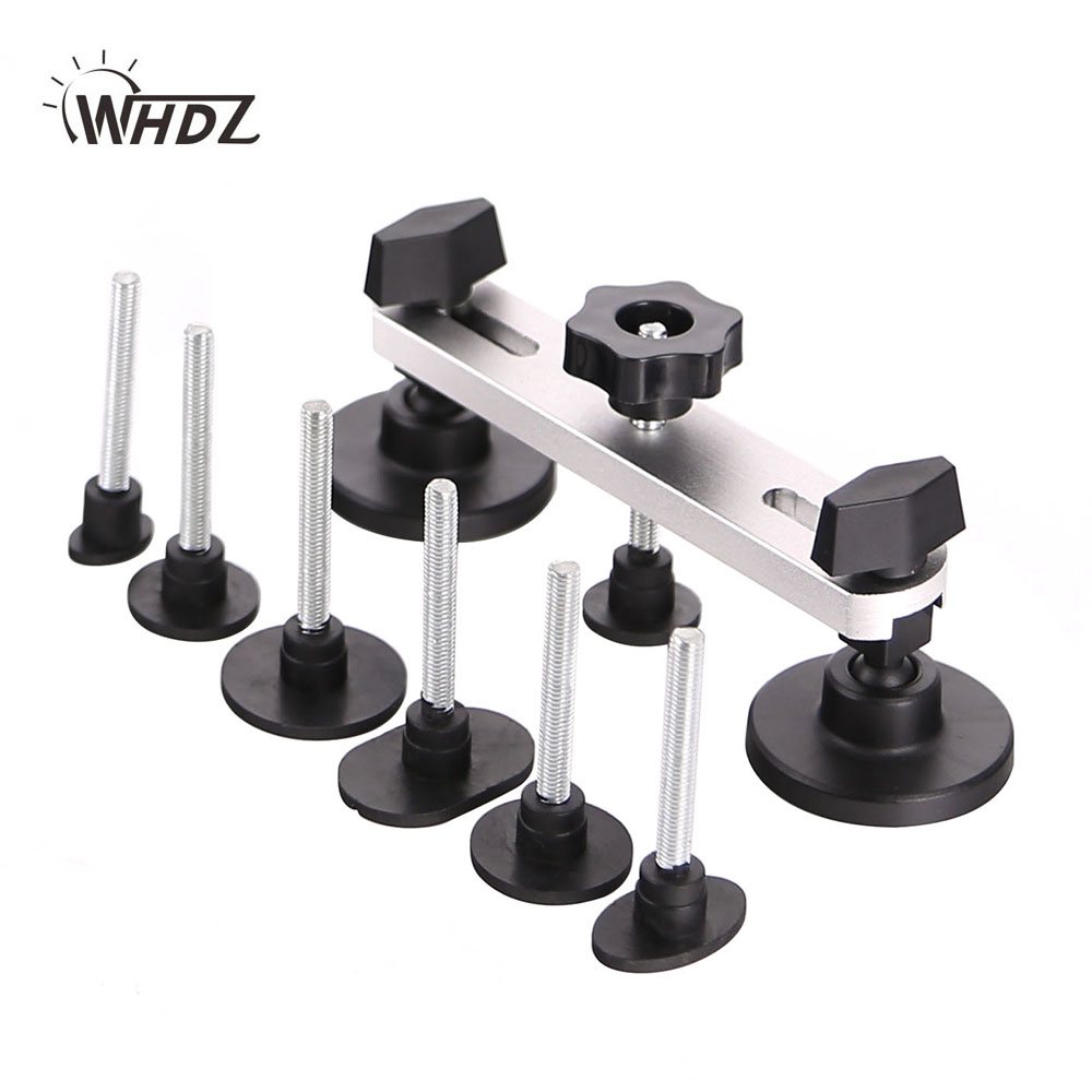 WHDZ PDR Paintless Dent Repair Tools New Design Pulling Bridge 7 PCS Mats Threaded Rod Dent Removal Hand Tool Set PDR Tool kit pdr paintless dent repair tools newly design pulling bridge dent removal hand tool set pdr instruments all black pump wedge