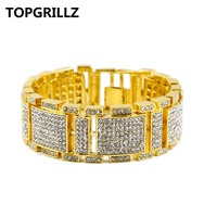TOPGRILLZ Hip Hop New Style AAA Rhinestone Fashion Bracelet Gold Silver Black Three Colors Biling Biling