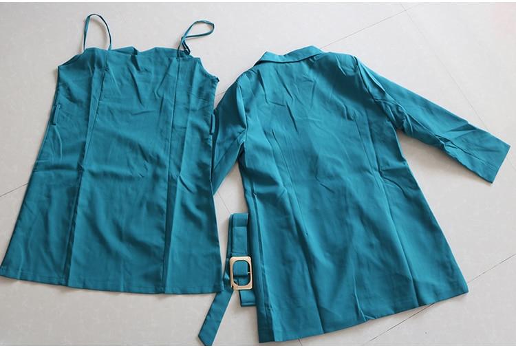 Autumn Business Suit Elegant Office Dress Lady Work 2 Pieces Set Long Sleeve Blazer and Sleeveless Dress Suit Set 36