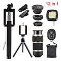 12in1 Camera Lens Kit Fish eye Wide Angle Macro Lenses 8x Zoom Telephoto Lentes Tripod Clips Selfie Flash Light For Cell Phone