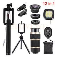 12in1 Camera Lens Kit Fish Eye Wide Angle Macro Lenses 8x Zoom Telephoto Lentes Tripod Clips