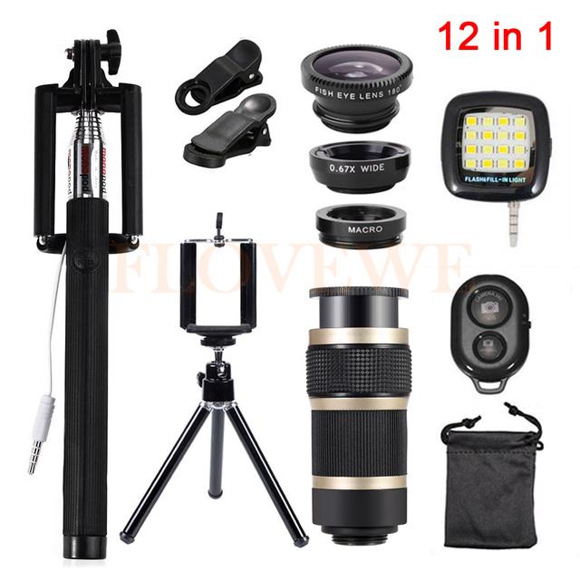 12in1 Kit Lente Da Câmera olho de Peixe Grande Angular Macro Lentes 8x clips de lentes zoom telefoto tripé selfie flash luz para telefone celular