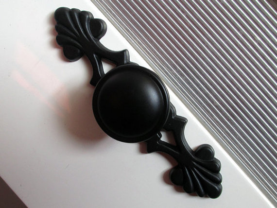 Black Dresser Knobs / Drawer Handles Backplate French Kitchen ...