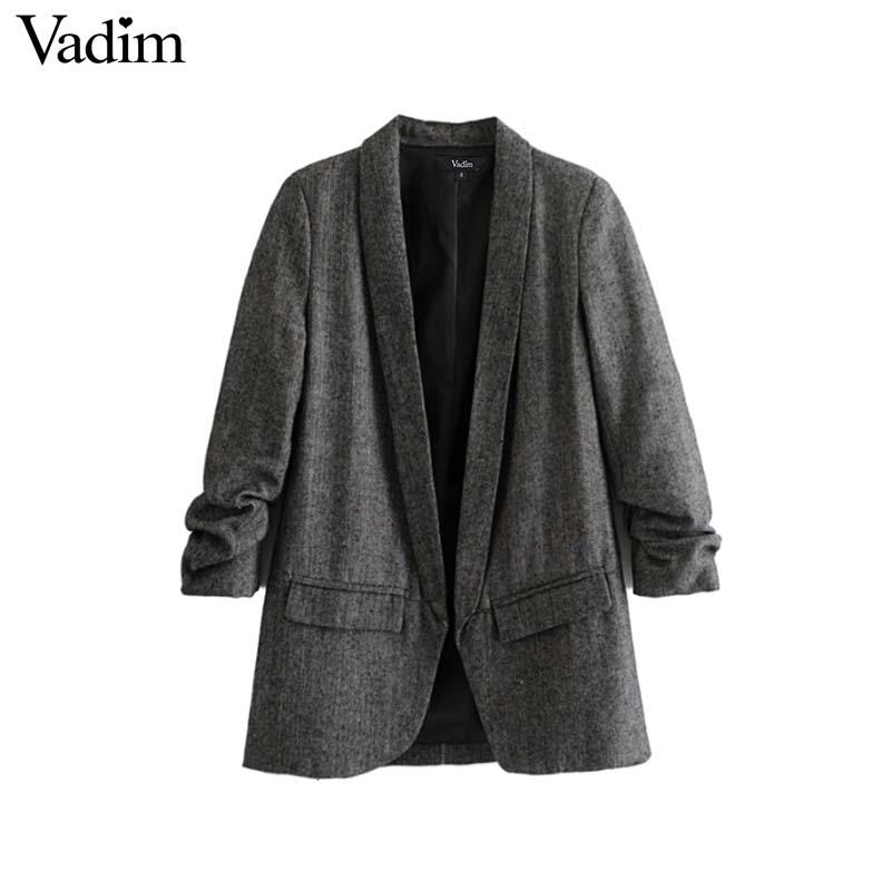 € 19.93  Vadim mujer chic sarga blazer recolectado tres cuartos manga  bolsillos Oficina desgaste abrigo cuello entallado vintage prendas de  vestir ...