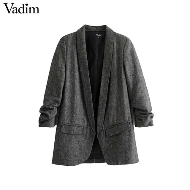 € 19.93 |Vadim mujer chic sarga blazer recolectado tres cuartos manga  bolsillos Oficina desgaste abrigo cuello entallado vintage prendas de  vestir ...