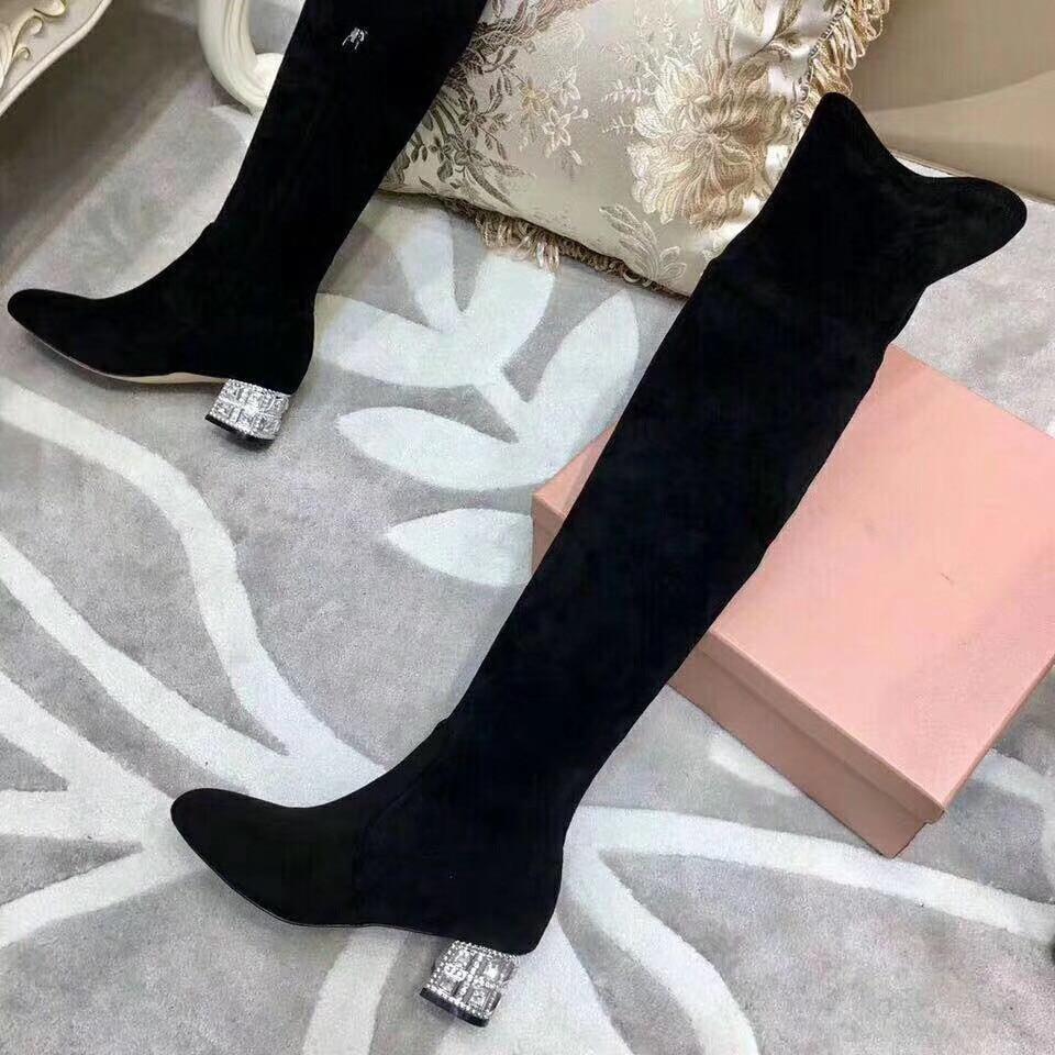 Mujer Feminina Doux Rond Zapatos Nouveau Genou Botas Bout Femmes Chaussures Mode as Bota De Botines Sur Show Show Bottes Bling Cristal As gX4Ovv