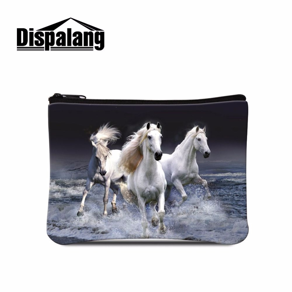 Dispalang unisex cute 3D crazy horse print coin change purse wallet coin bag card holders women pouch mini purse small money bag