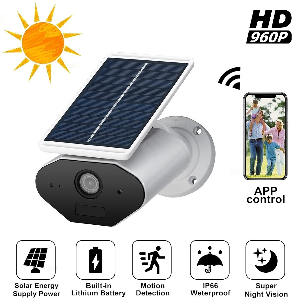 Security Surveillance Video IP Camera WiFi Recorder Solar Outdoor Waterproof Infrared Sensor PIR Detection HD Home