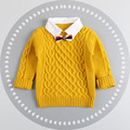 2016 Autumn Winter England Style Plaid Patchwork baby Boys Sweaters with Bow Tie Children's Kids Warm Clothes Gift For Boy