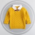 2016 Otoño Invierno Estilo de Inglaterra Plaid Patchwork bebé Niños Sweaters con Pajarita niños Niños Ropa Caliente de Regalo Para Boy
