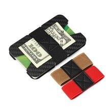 Carbon Fiber Credit Card Holder RFID Blocking Slim Travel Wallet Durable Purse For Men Minimalist Front Pocket Elatic Money Band
