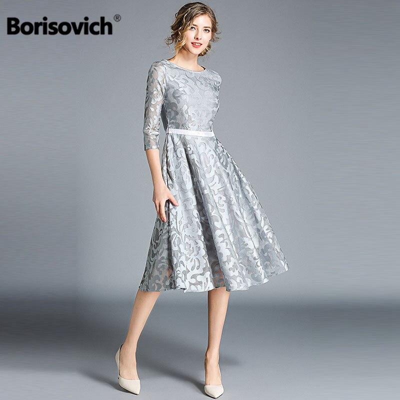 Borisovich, женское Повседневное платье, новый бренд, осень 2018, модное, кружевное, большое, свободное, элегантное, для девушек, для вечеринки, платья M843