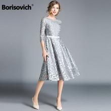 Borisovich فستان كاجوال نسائي ماركة جديدة 2018 خريف موضة فستان من الدانتيل سوينغ كبير أنيق السيدات فساتين الحفلات المسائية M843