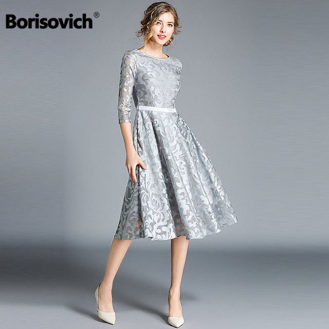Borisovich Women Casual Dress New Brand 2018 Autumn Fashion Hollow Out Lace Big Swing Elegant Ladies Evening Party Dresses M843