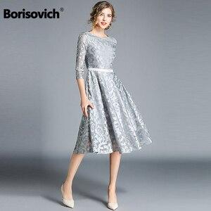 Image 1 - Borisovich kadınlar rahat elbise yeni marka 2018 sonbahar moda oyma dantel büyük salıncak zarif bayanlar akşam parti elbiseler M843