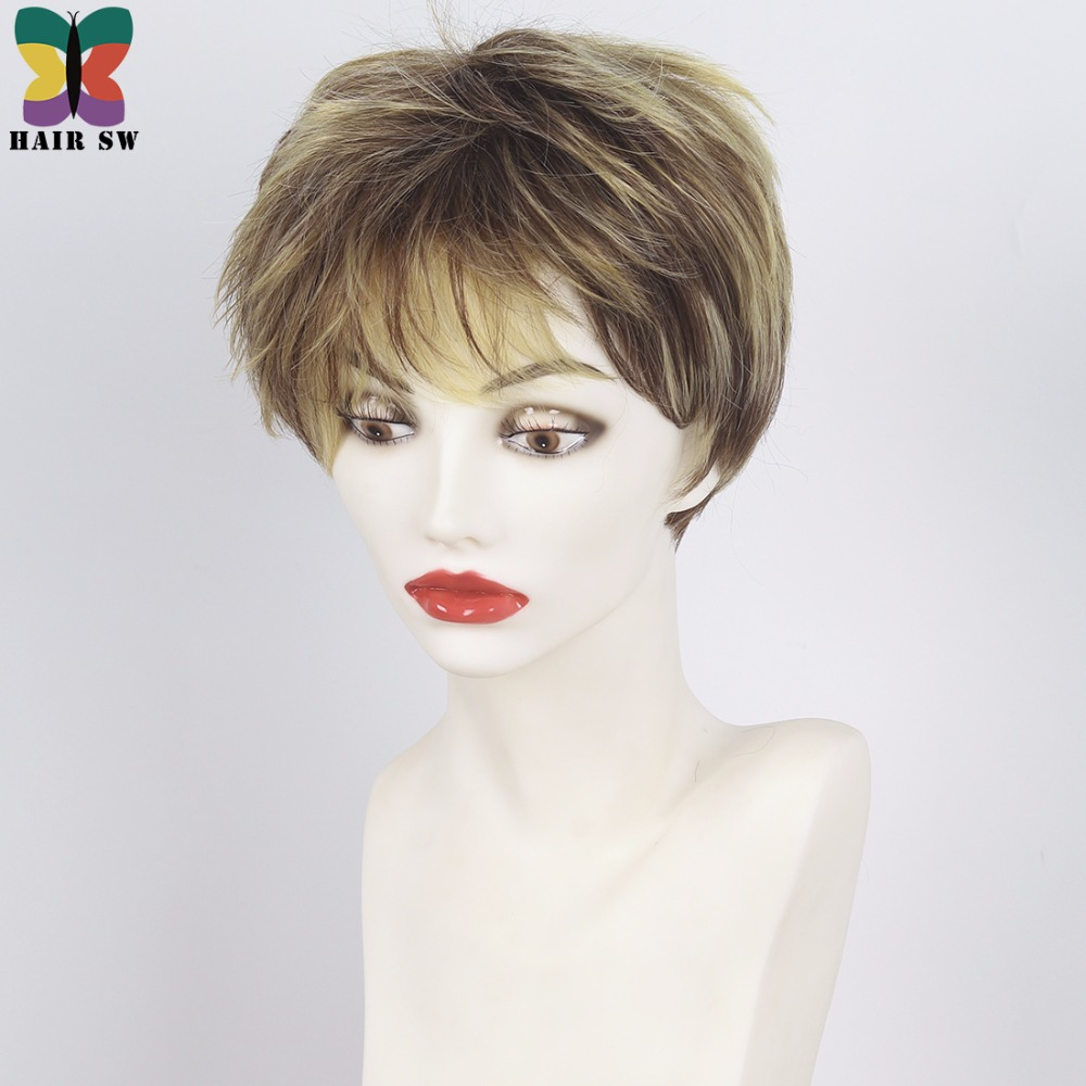 Aliexpress Buy Hair Sw Short Pixie Cut Ladies Wig Brown Mixed