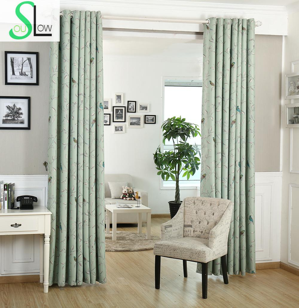 US $9.1 35% OFF|[Slow Soul]New Curtains Bedroom Windows Birds twitter  Fragrance Flowers Spot Curtain For Living Room Blackout Chinese Children-in  ...