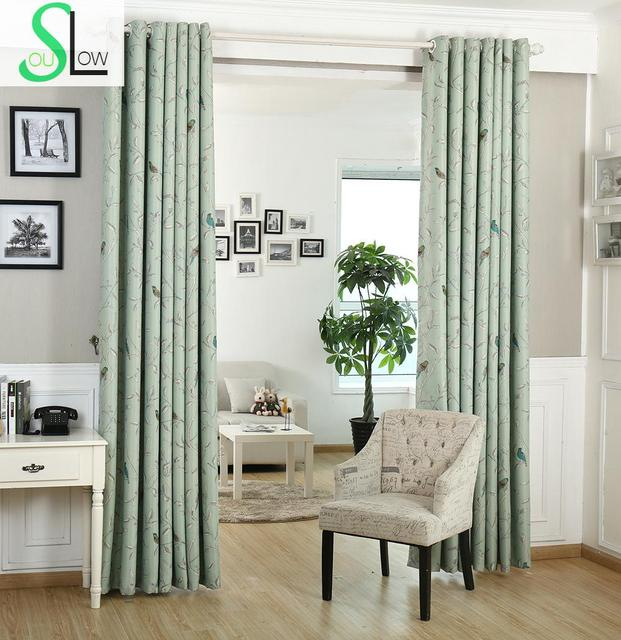 [Slow Soul]New Curtains Bedroom Windows Birds twitter Fragrance Flowers  Spot Curtain For Living Room Blackout Chinese Children-in Curtains from  Home & ...