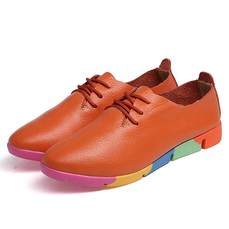 Dentelle blanc Orange Étudiants Shoesd001 Solide Laides Chaussures En up Plat Mocassins Hovinge Cuir Automne Split Printemps Femmes Nouveau Espadrille qwUATxa1zP