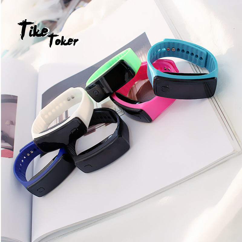Tike Toker,Fashion Children's Watches LED Digital Display Watch Kids Children's Students Silica Gel Sports Watch Relogios Drop10