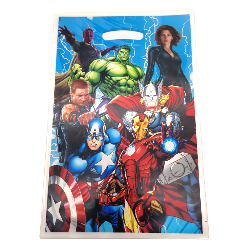 10PCS Avengers Design Decorate Happy Birthday Party Kids Boys Favors Gifts Bags Baby Shower Party Food Grade Plastic Loot Bags