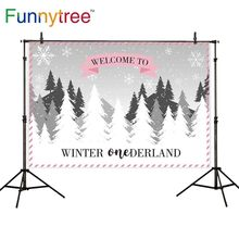 Funnytree photo background winter wonderland forest Snowflake birthday backdrop Party Decoration studio Christams customize