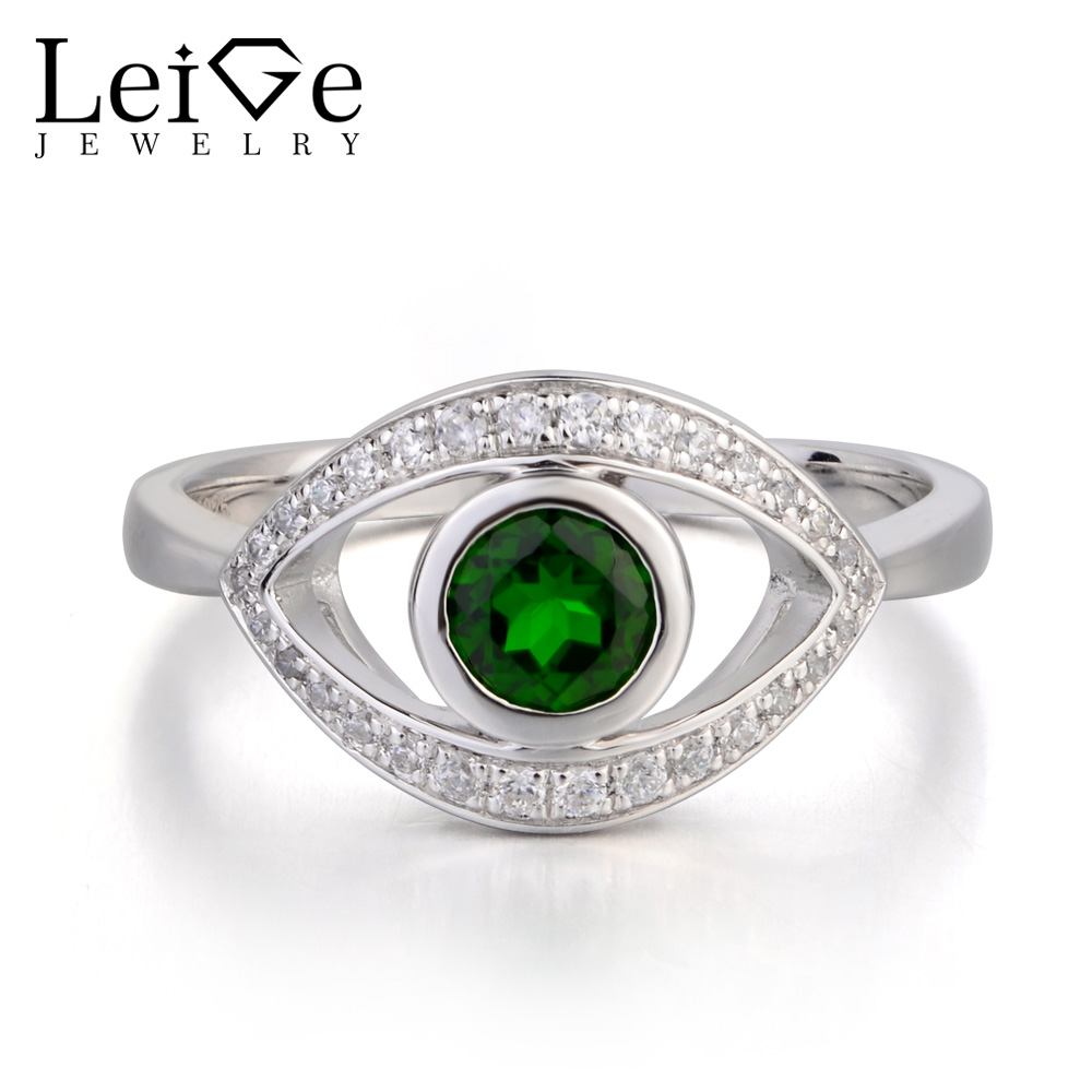Leige Jewelry Engagement Rings Genuine Natural Diopside Ring Round Cut Green Gemstone Real Solid 925 Sterling Silver for WomenLeige Jewelry Engagement Rings Genuine Natural Diopside Ring Round Cut Green Gemstone Real Solid 925 Sterling Silver for Women