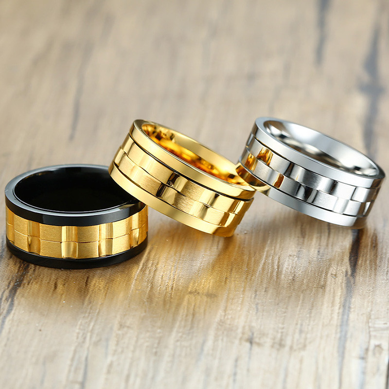 Image 3 - ZORCVENS 2020 New Fashion 9mm Gold Black Rotatable Stainless Steel Wedding Rings for ManRings   -