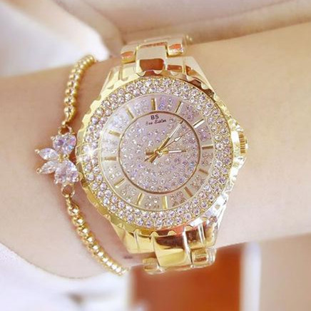 где купить Women Rhinestone Watches Lady Diamond Stone Dress Watch Stainless Steel Band Big Dial Bracelet Wristwatch ladies Crystal Watch по лучшей цене