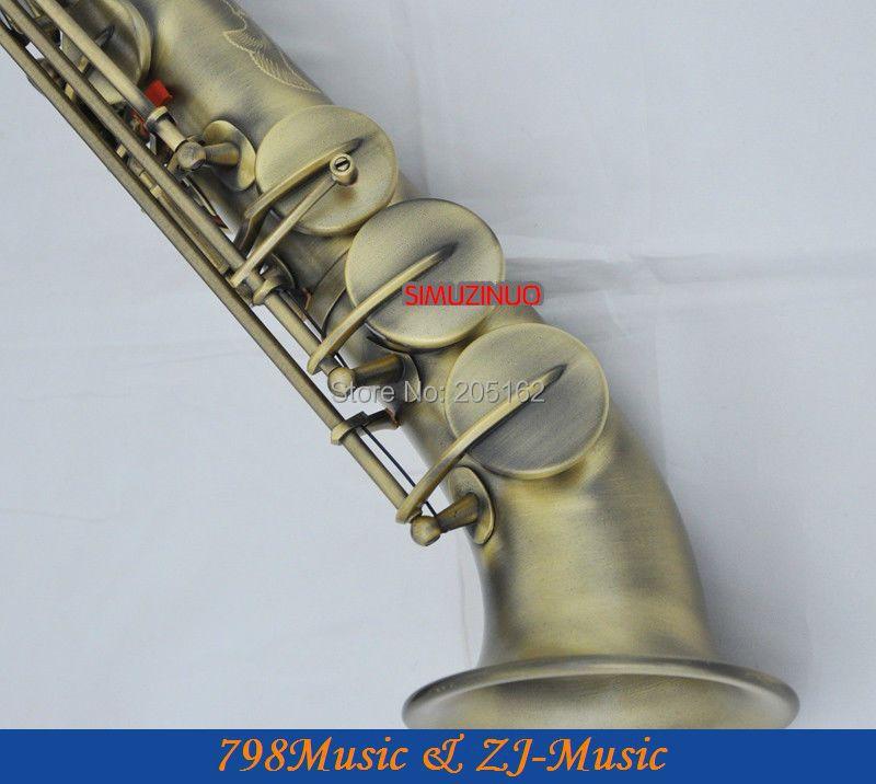 Cloche incurvée Bronze Antique saxophone Soprano clé Bb à clé haute F et clé G-2 cous-boutons ormeau