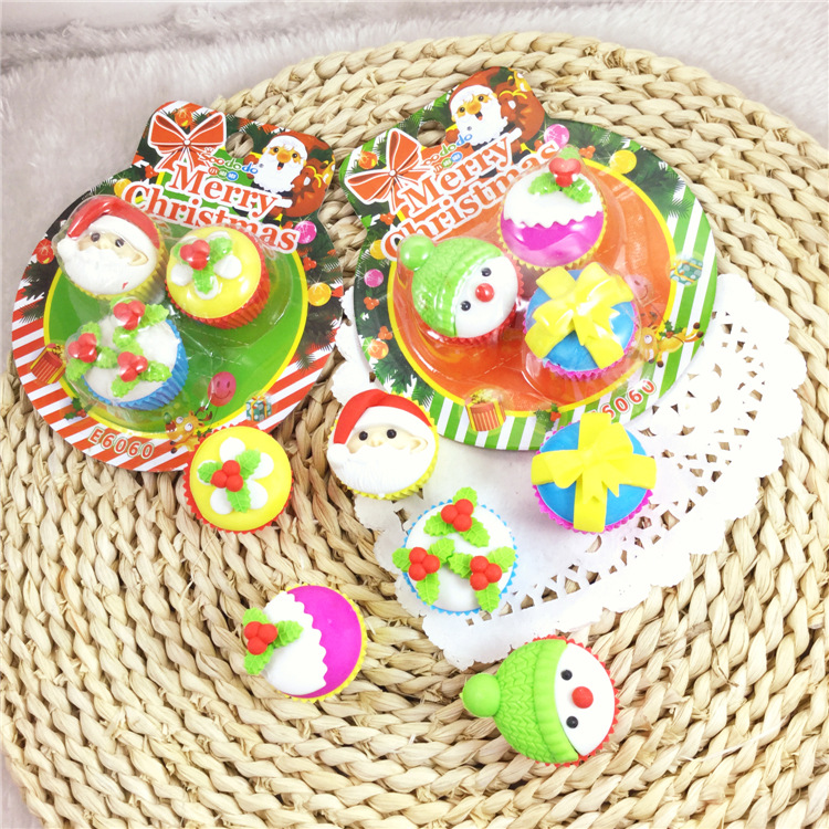 12 sets / lot , Christmas erasers , novelty Christmas pencil rubber as a gift for kids
