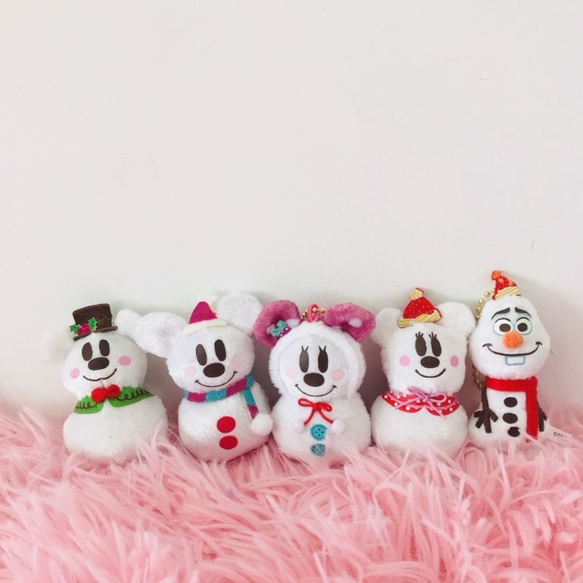 6cm Mickey Minnie Mouse Snowman Plush Toy Christmas Mini Doll