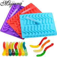 Mujiang 20 Cavity Silicone Gummy Snake Worms Chocolate Mold Sugar Candy Jelly Molds Ice Tube Tray Mold Cake Decorating Tools