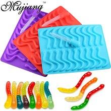 Mujiang 20 kavite silikon sakızlı yılan solucanlar çikolata kalıp şekerleme jöle kalıpları buz tüp tepsisi kalıp kek dekorasyon araçları