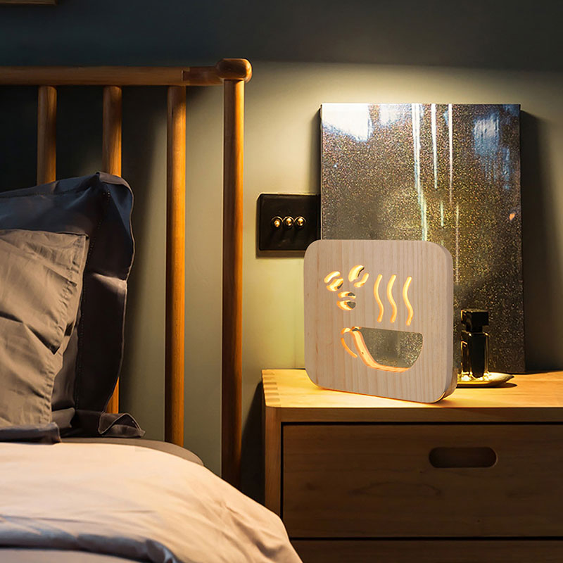 Wooden Night Light Children's Bedroom Decoration Warm Light LED USB Desktop Decorative Table Lamp Children's Gifts