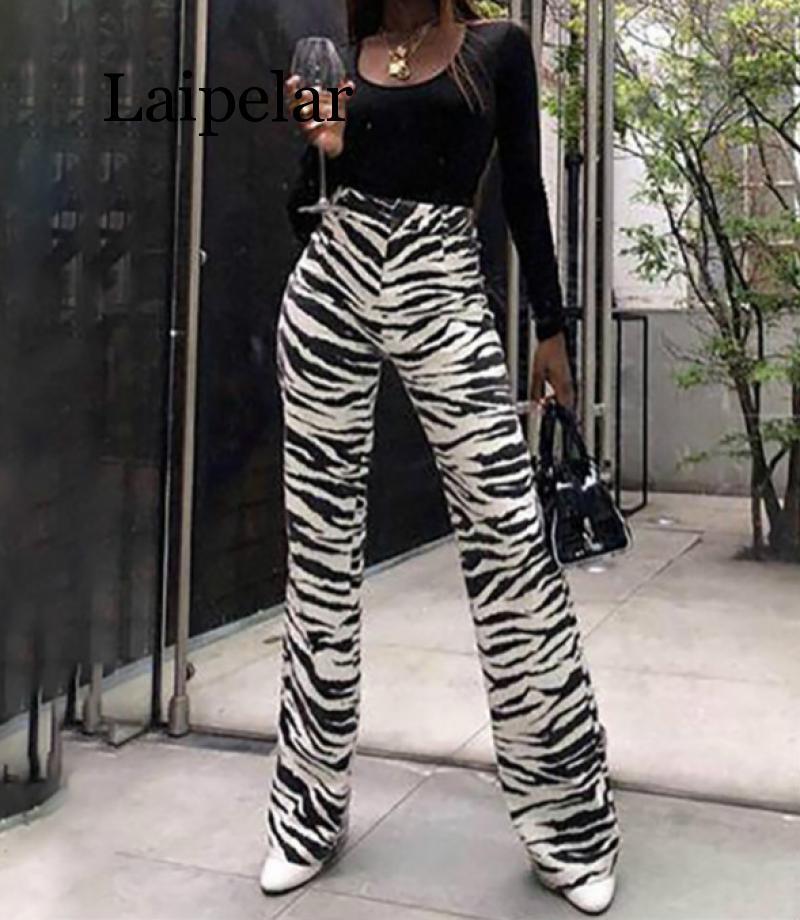 Laipelar Fashion Zebra Animal Print   Wide     Leg     Pants   Women Fall Winter Casual Trousers Sexy High Waist Bell Bottom   Pants