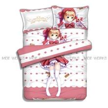 Kawaii KINOMOTO SAKURA Duvet Comforter Cover Cardcaptor Saku Bed Sheet KINOMOTO SAKURA  Anime Bedding Set
