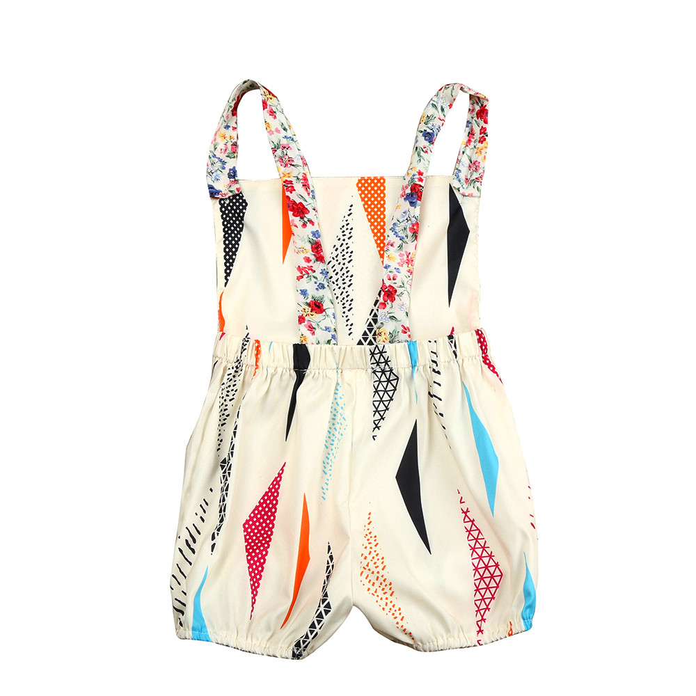 Summer Sleeveless Romper Sunsuit Girl Baby Backpack Jumpsuit Colorful Print Clothes Outfit for 0-18M Moda Infantil Menina #7825 2017 denim romper newborn baby boy girl summer sleeveless pocket clothes toddler kids jumpsuit sunsuit children clothing outfits
