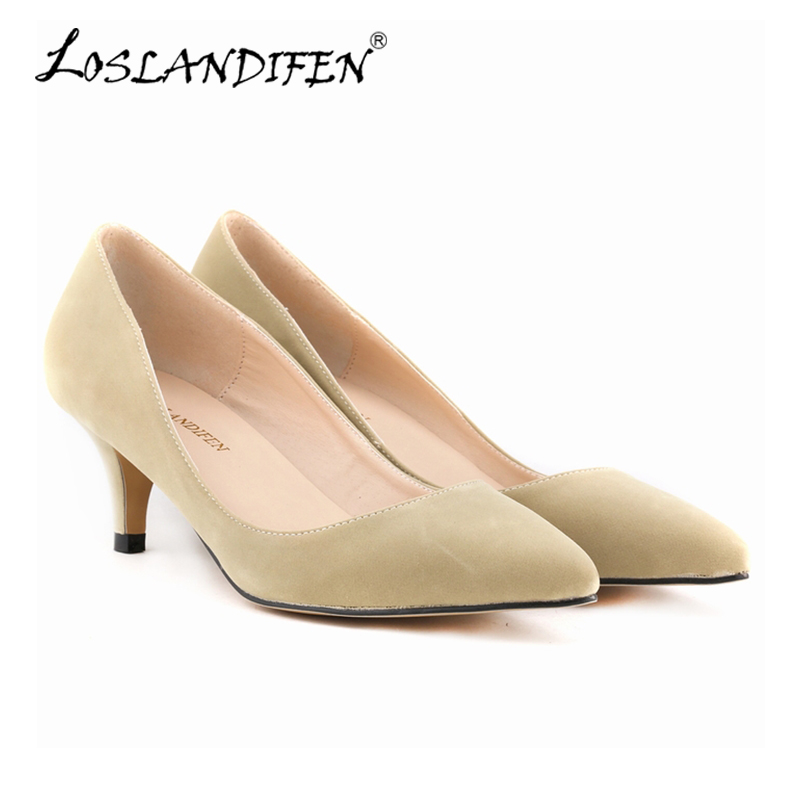 LOSLANDIFEN New Nude Women Pumps Pointed Toe Med High Heels Shoes Party Wedding Shoes Fashion Flock Work Pumps Woman 678-1VE  shofoo newest women shoes med heels pointed toe pumps for woman dress