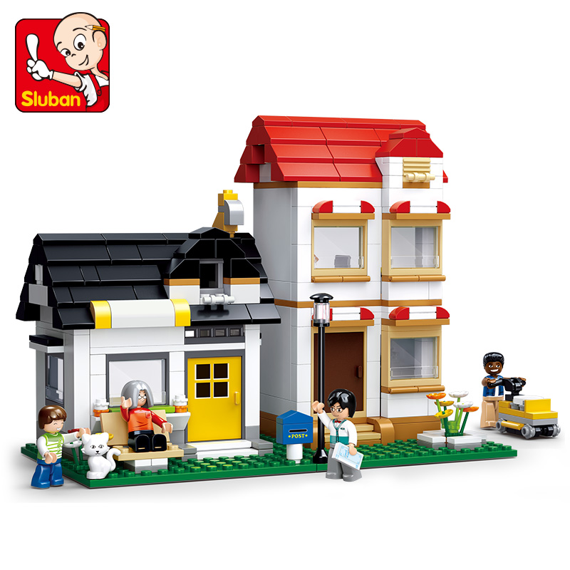 SLUBAN 0573 simCity Large Scene Building Blocks Bricks Toys Forge World Mini World sluban Double villas Christmas Gift image
