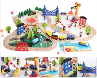 Wooden Small Train Track Toys 108pcs Korean Track Accessories Children's Educational Puzzle Handmade Assemble Toy
