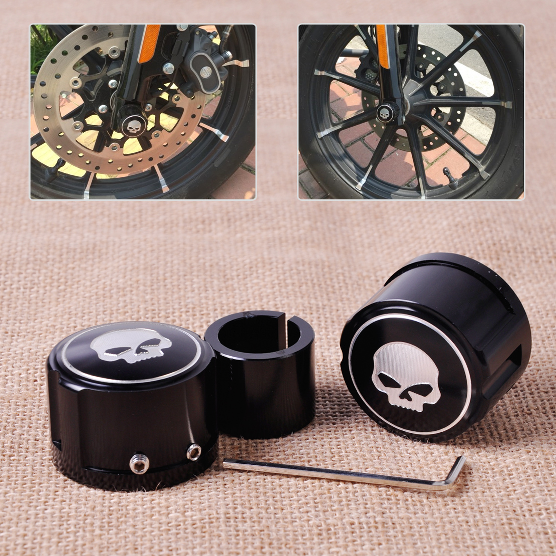 CITALL 2pcs Aluminum Motorcycle Front Skull Axle Nut Cover Cap Bolt Kit for Harley VRSC XG XL Touring Trike model Softail Dyna