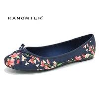 Zapatos de las mujeres zapatillas de ballet bailarina navy Satinado Impresas con punta Redonda y bowtie KANGMIER